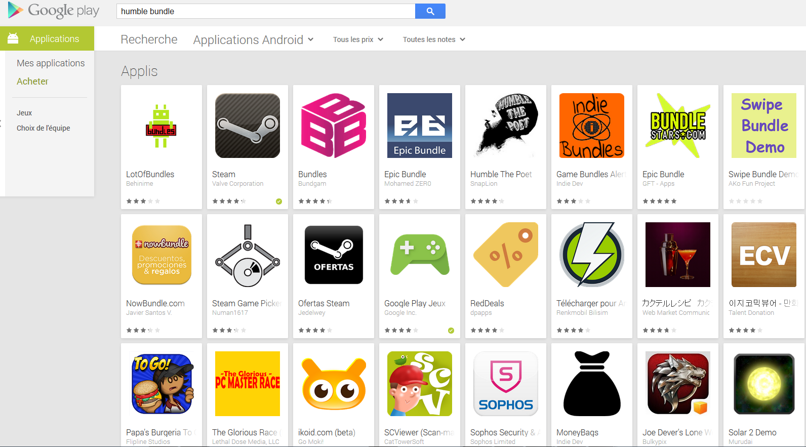 L'application Humble bundle est désormais introuvable sur le Play Store de Google
