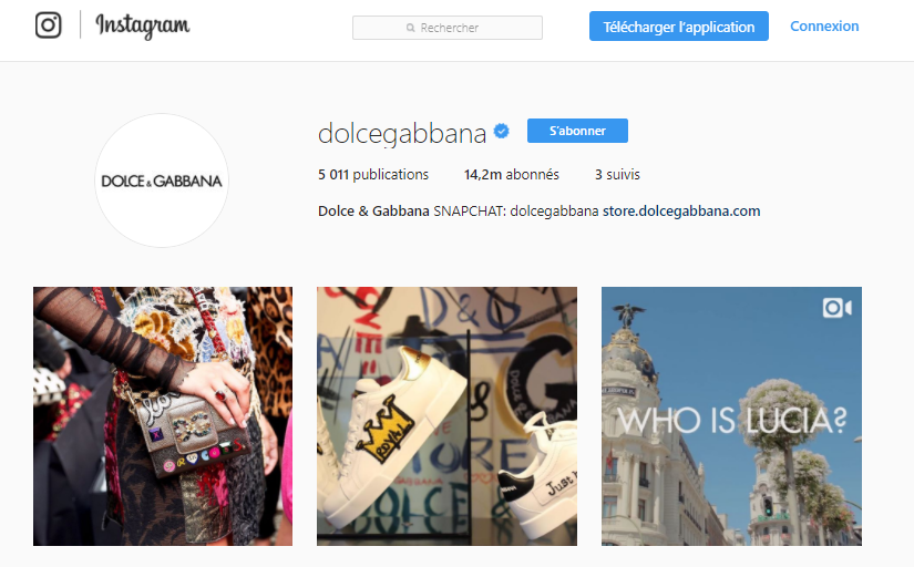 dolce-&-gabbana-Instragram-homepage