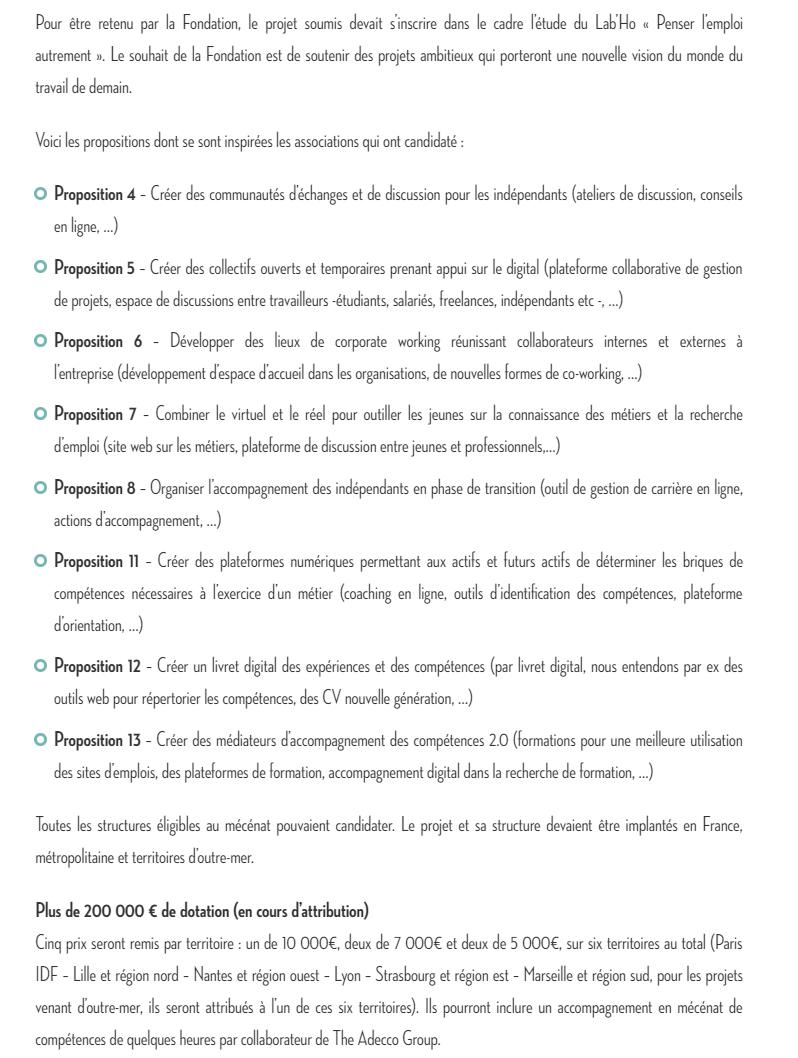 Description des attentes du Groupe Adecco. Une aide intéressante pour trouver une idée de start-up.