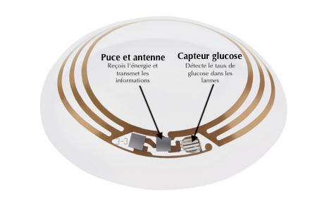 La lentille de contact mesure le taux de glycémie dans les larmes grâce à un capteur, une puce et une antenne. Puce et antenne; reçois l'énergie et transmet les informations. Capteur glucose; détecte le taux de glucose dans les larmes.